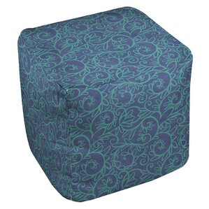 Funky Florals Swirl Pattern Ottoman by Manual Woodworkers & Weavers