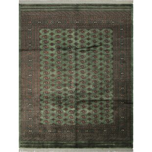 Affordable One-of-a-Kind Abril Hand-Knotted Wool Green/Black Area Rug By Isabelline