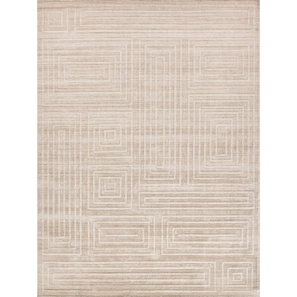 Exquisite Rugs Castelli Geometric Handmade Bamboo Slat Cotton Silk Light Beige Area Rug Wayfair
