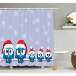 Christmas Fun Birds Santa Hats Shower Curtain