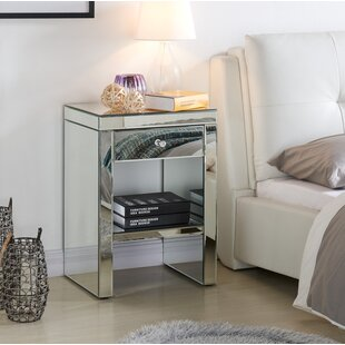 Mirrored 1 Drawer Bedside Table