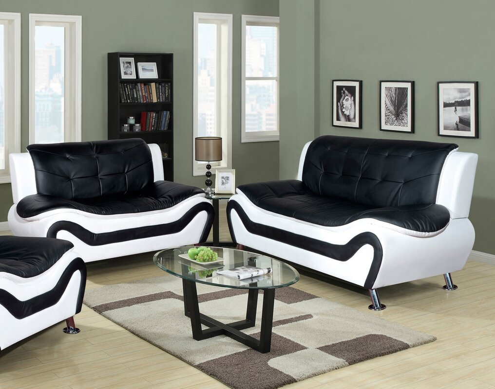 Living Room Furniture: Orren Ellis Crocker 2 Piece Leather Living Room Set