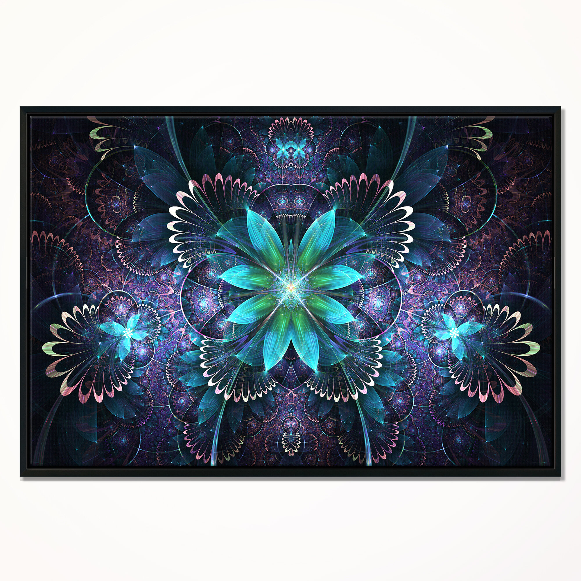 East Urban Home Fractal Flower Blue Digital Art Framed Graphic Art Print On Wrapped Canvas Wayfair