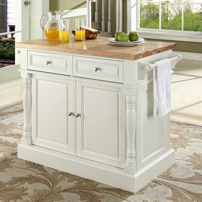 Kitchen Island Butcher Block darby home co lewistown kitchen island with butcher block top