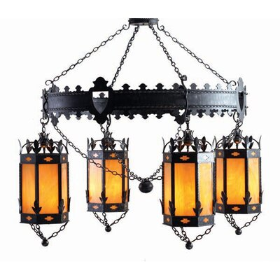 2nd Ave Design Valhalla 4-Light Shaded Chandelier Finish: Tuscan Ivory, Acrylic: Real Mica