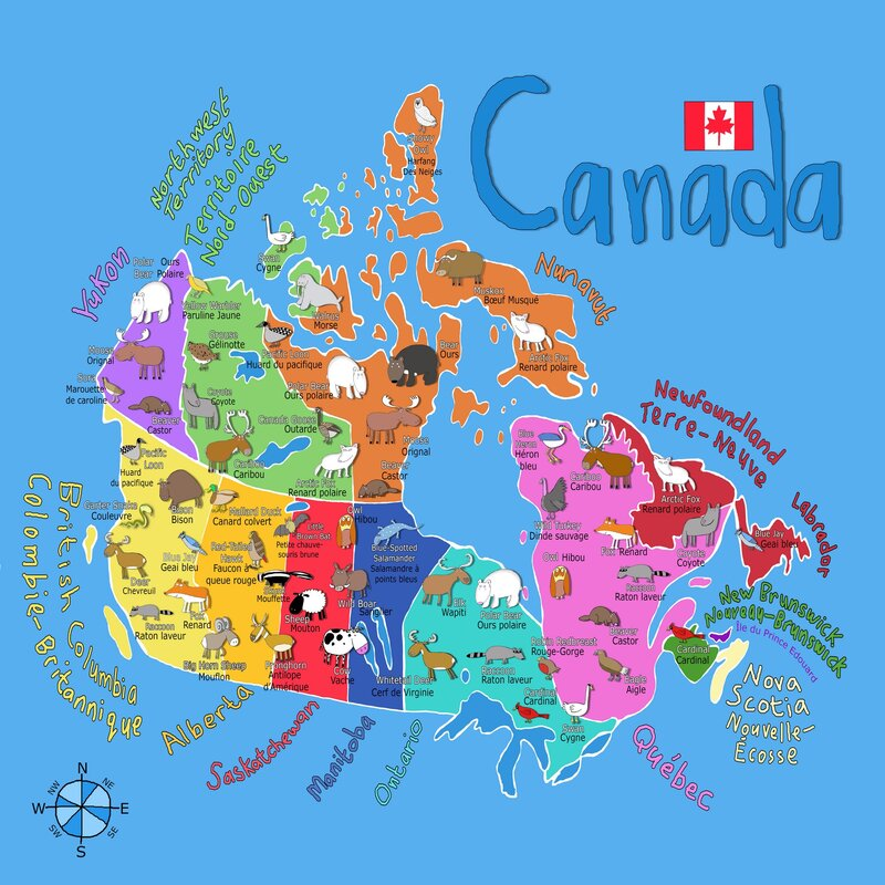 Canada Printable Map For Kids Zoomie Kids Oliveira 'Blue Canadian Map' Canvas Art | Wayfair.ca