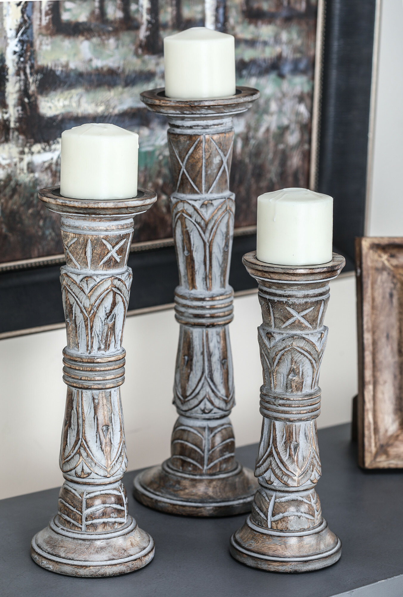Bungalow Rose 3 Piece Paulita Tall Wood Candlestick Holder Set Reviews Wayfair