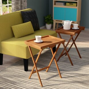 Hussey Bamboo Snack TV Tray Table (Set of 2) by Ebern Designs