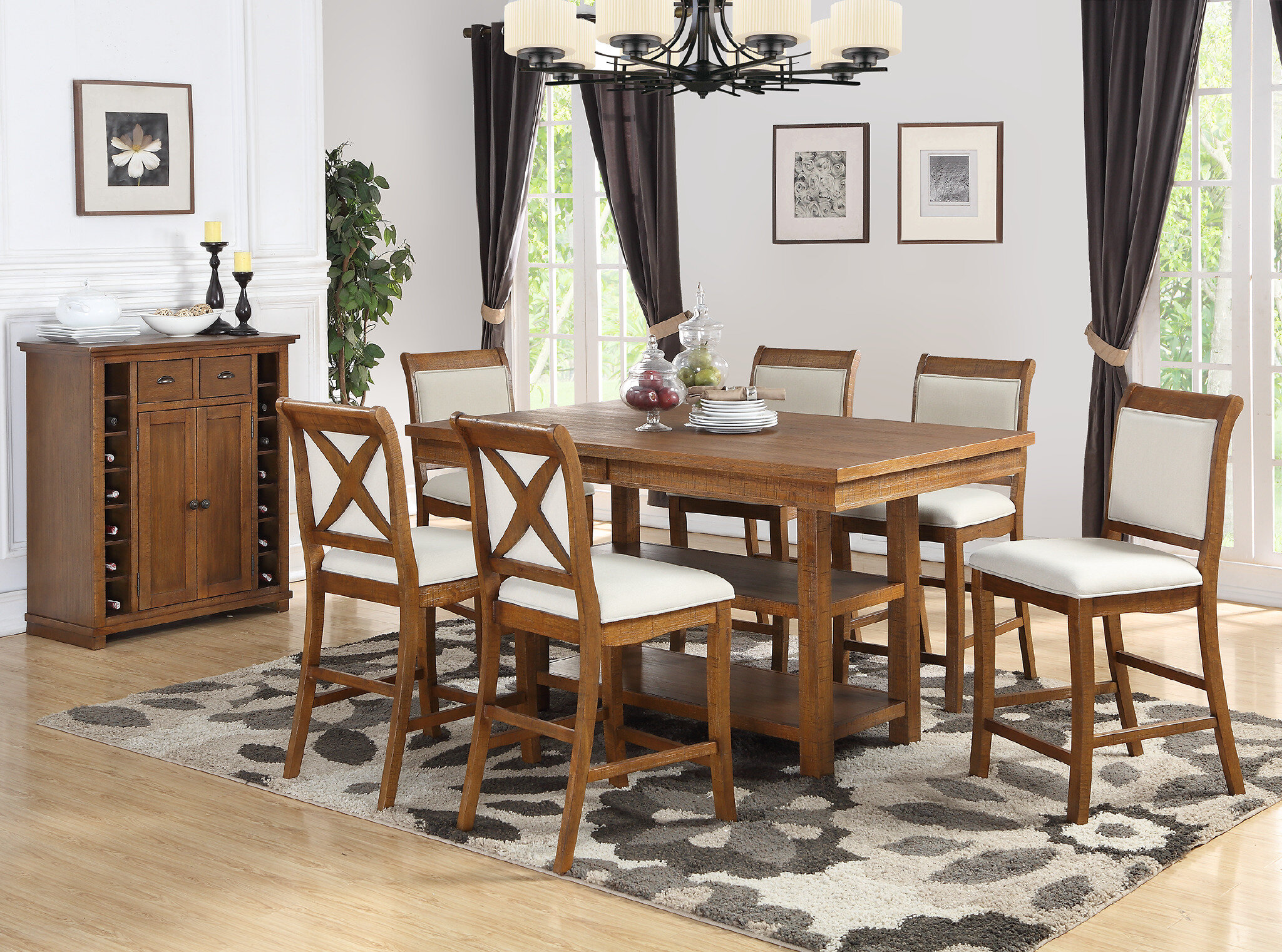 Rosecliff Heights Courson 7 Piece Counter Height Dining Set | Wayfair