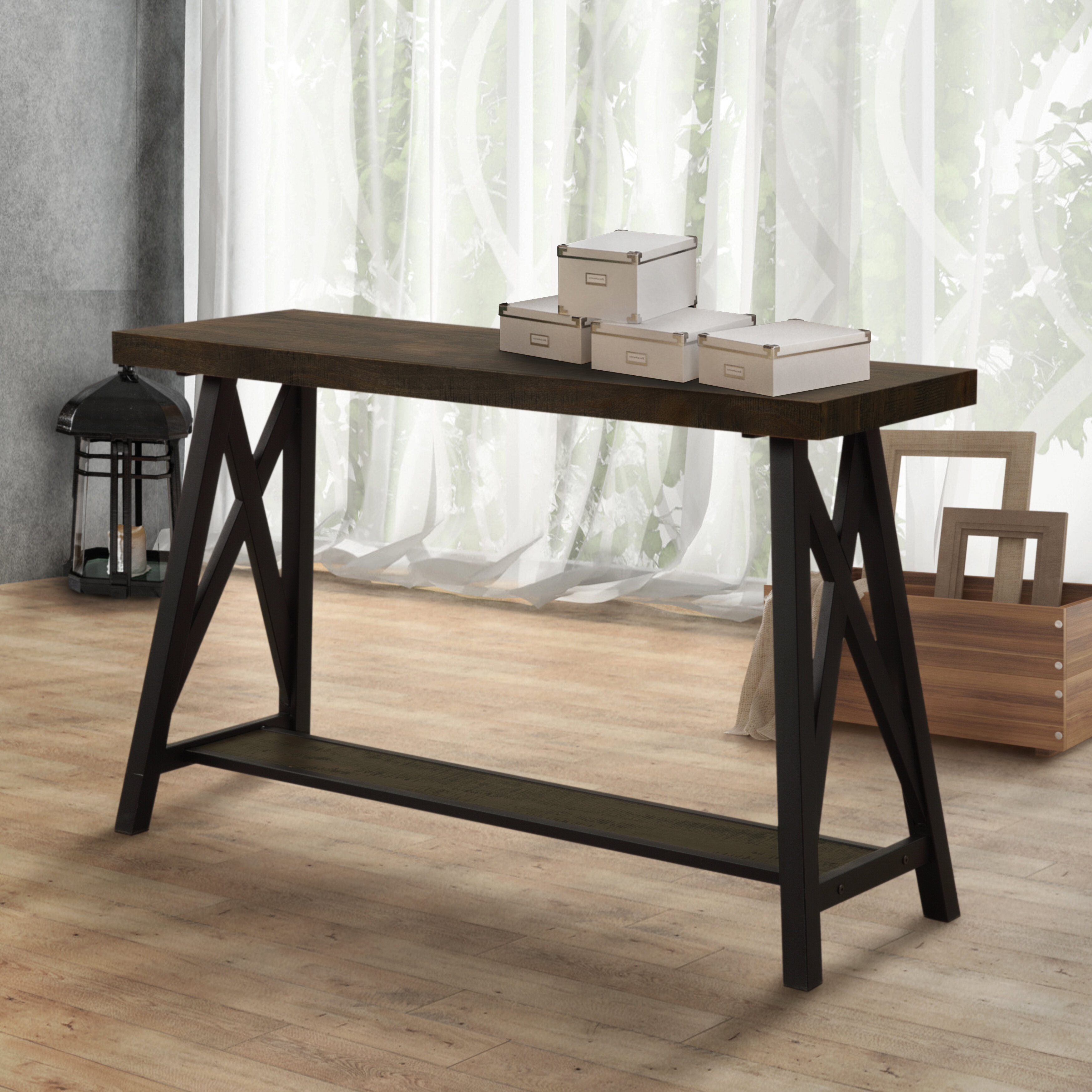 Gracie oaks mayur industrial console table wayfair