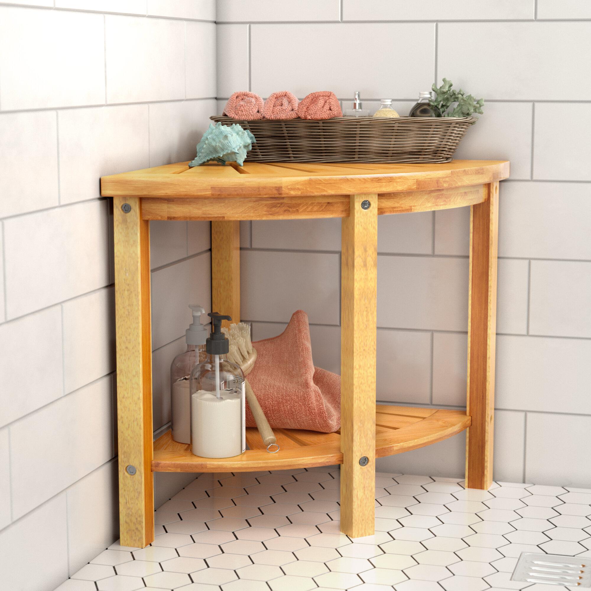 Highland Dunes Barksdale Corner Shower Seat With Storage Shelf Reviews Wayfair