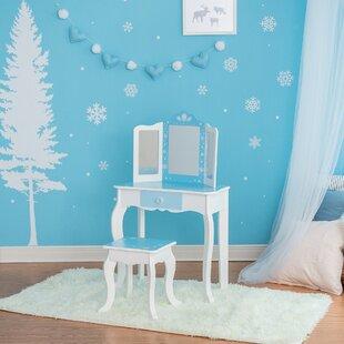 Fashion Snow Flake Prints Kids Vanity Set with Mirror by Teamson Kids