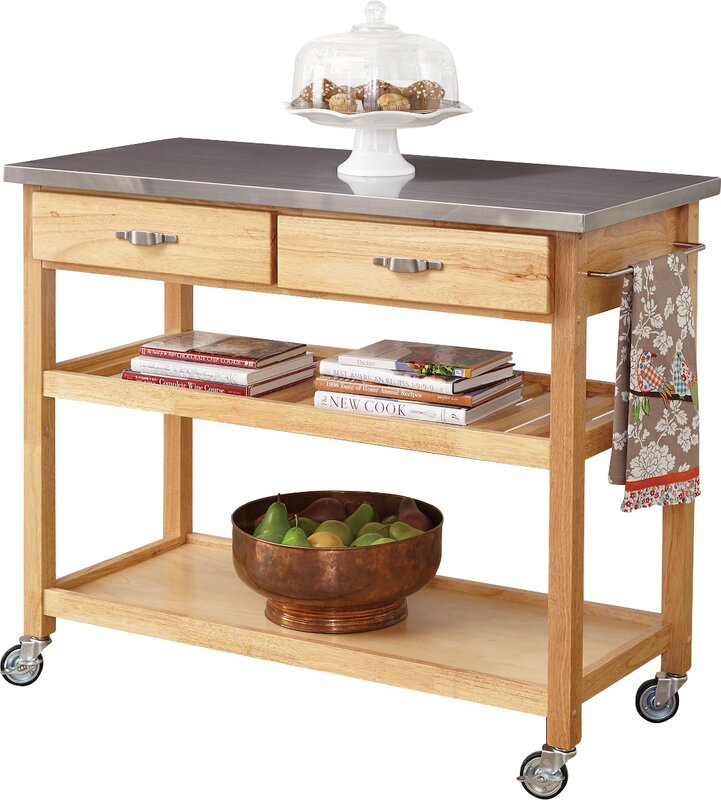 Lovely Drumtullagh Kitchen Island With Stainless Steel Top