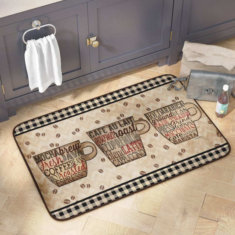 Marvelous Chilton Coffee Words Oversized Anti Fatigue Kitchen Mat