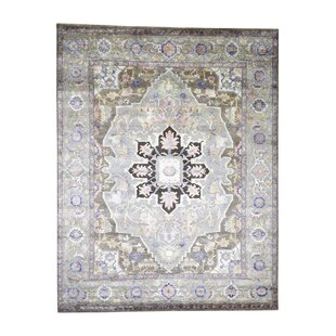 Affordable One-of-a-Kind Castillon Hand-Knotted 7'10 x 10' Silk Brown/Green/Black Area Rug By Isabelline