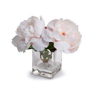 Faux pink flowers in vase wayfair faux peonies floral arrangement in vase mightylinksfo