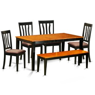 6 Piece Extendable Dining Set East West Furniture