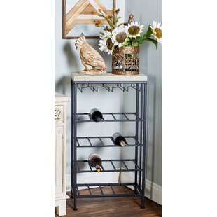 Wilcoxen Rustic 4-Tiered Tabletop Wine Bottle Rack Herry Up
