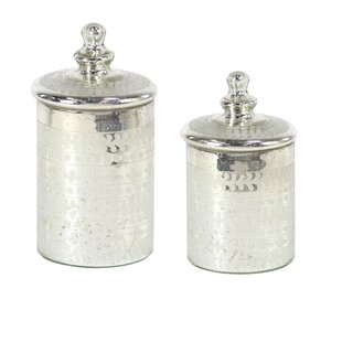 Traditional Cylindrical Gl 2 Piece Kitchen Canister Set
