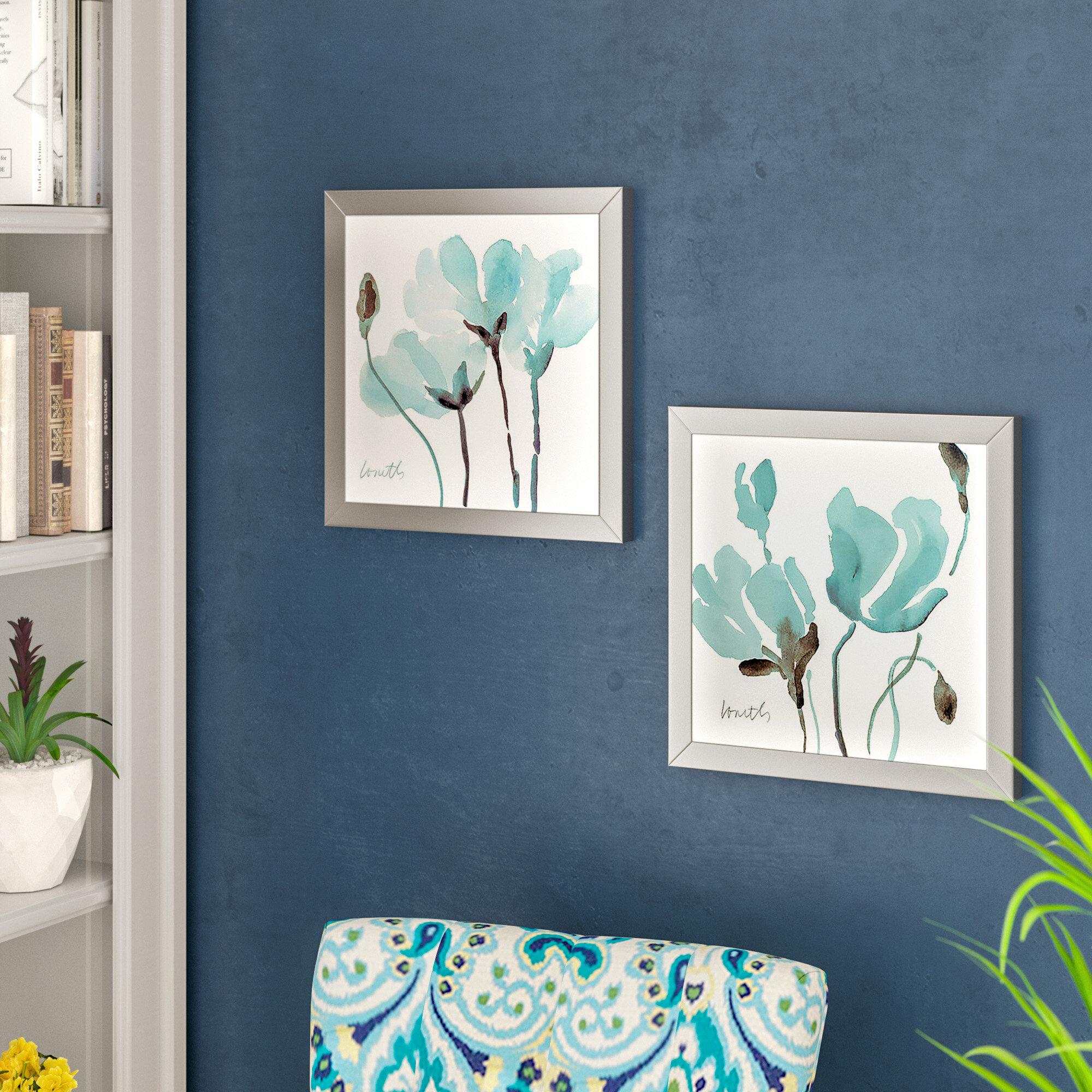 Latitude Run \'Teal Magnolias I\' 2 Piece Framed Print Set & Reviews ...