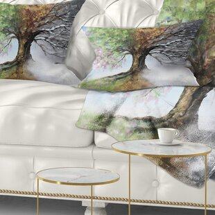Tree With Four Seasons Lumbar Pillow