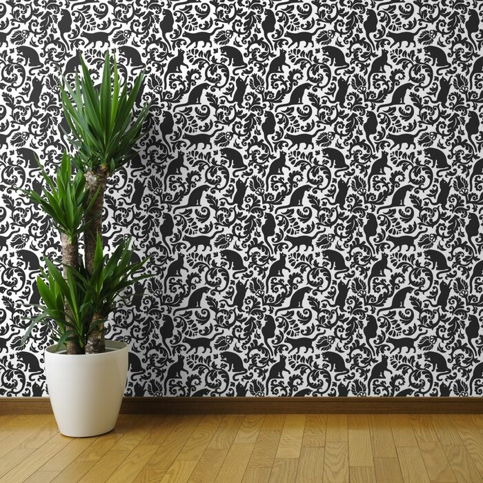 Aghnadarragh Cat Damask Removable Wallpaper Panel