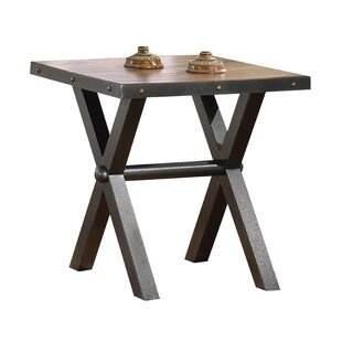 Cardenas Metal X Shape Legs Wooden End Table