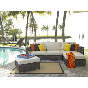 Soho 5 Piece Sectional Seating Group with Sunbrella Cushions