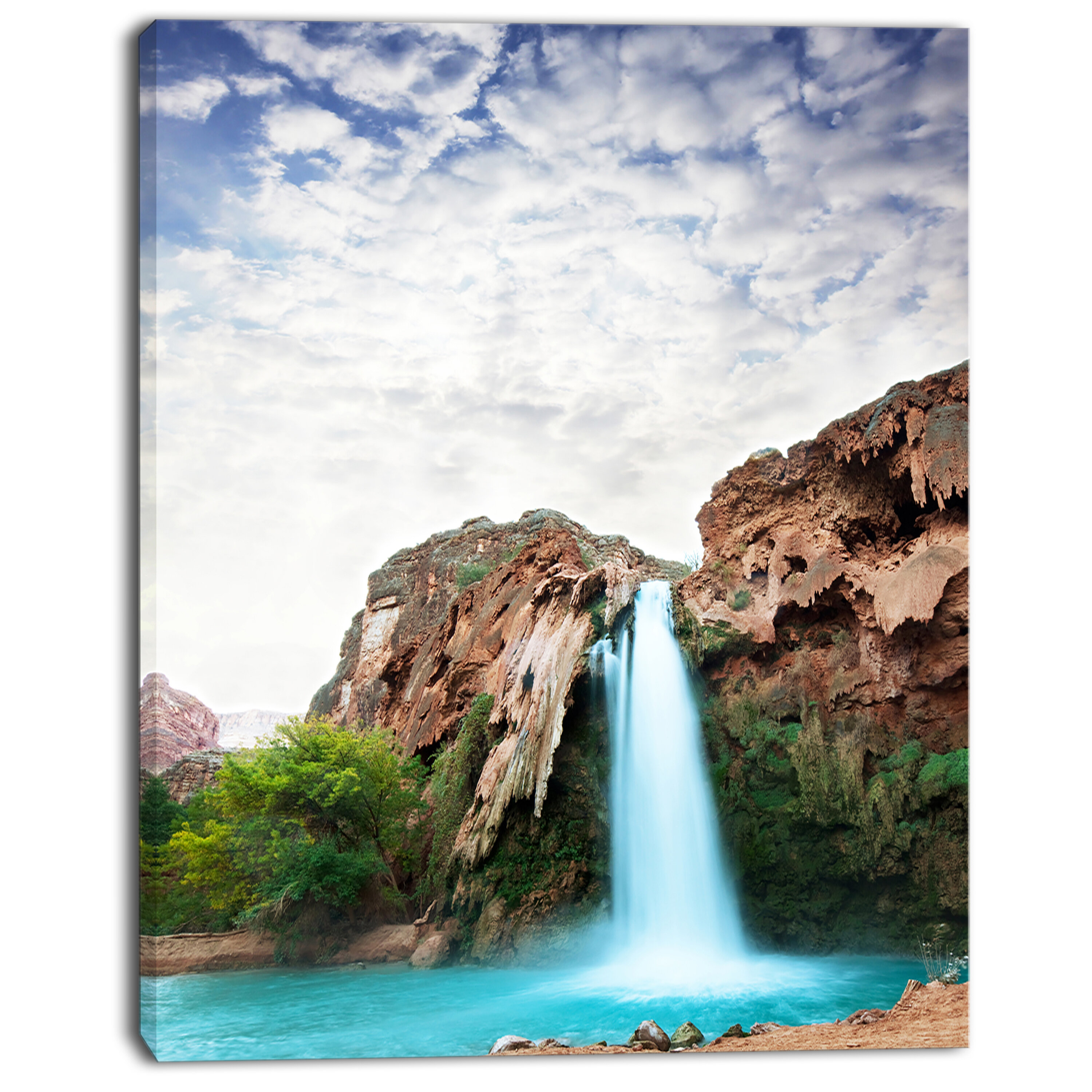Designart Amazing Waterfall Under Cloudy Sky Photographic Print On Wrapped Canvas Wayfair