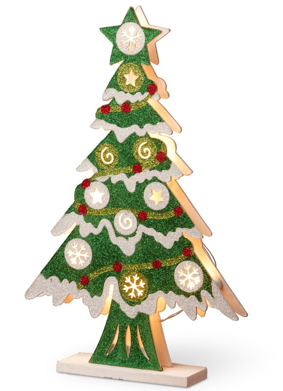 Pre Lit Wooden Christmas Tree