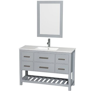 Order Natalie 48 Single Gray Bathroom Vanity Set with Mirror By Wyndham Collection