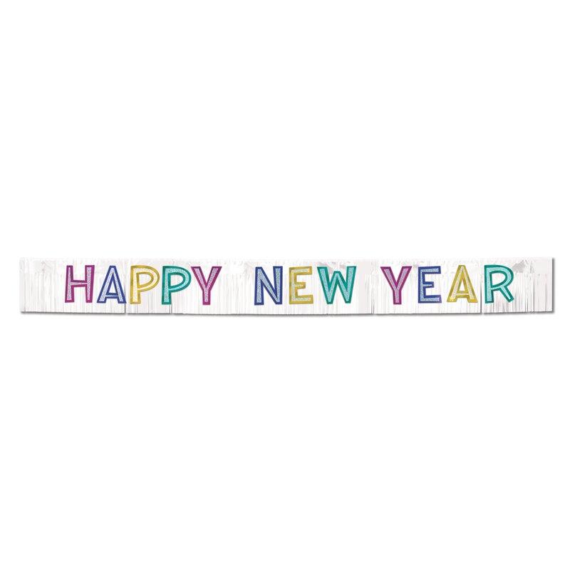 new years metallic happy new year banner