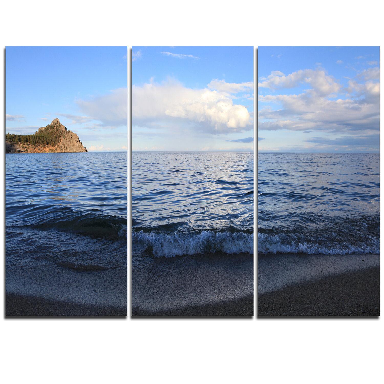 Designart Wave With Whitecaps On Lake Baikal 3 Piece Graphic Art On Wrapped Canvas Set Wayfair