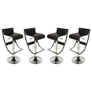LeisureMod Napoli Adjustable Height Swivel Bar Stool (Set of 4)