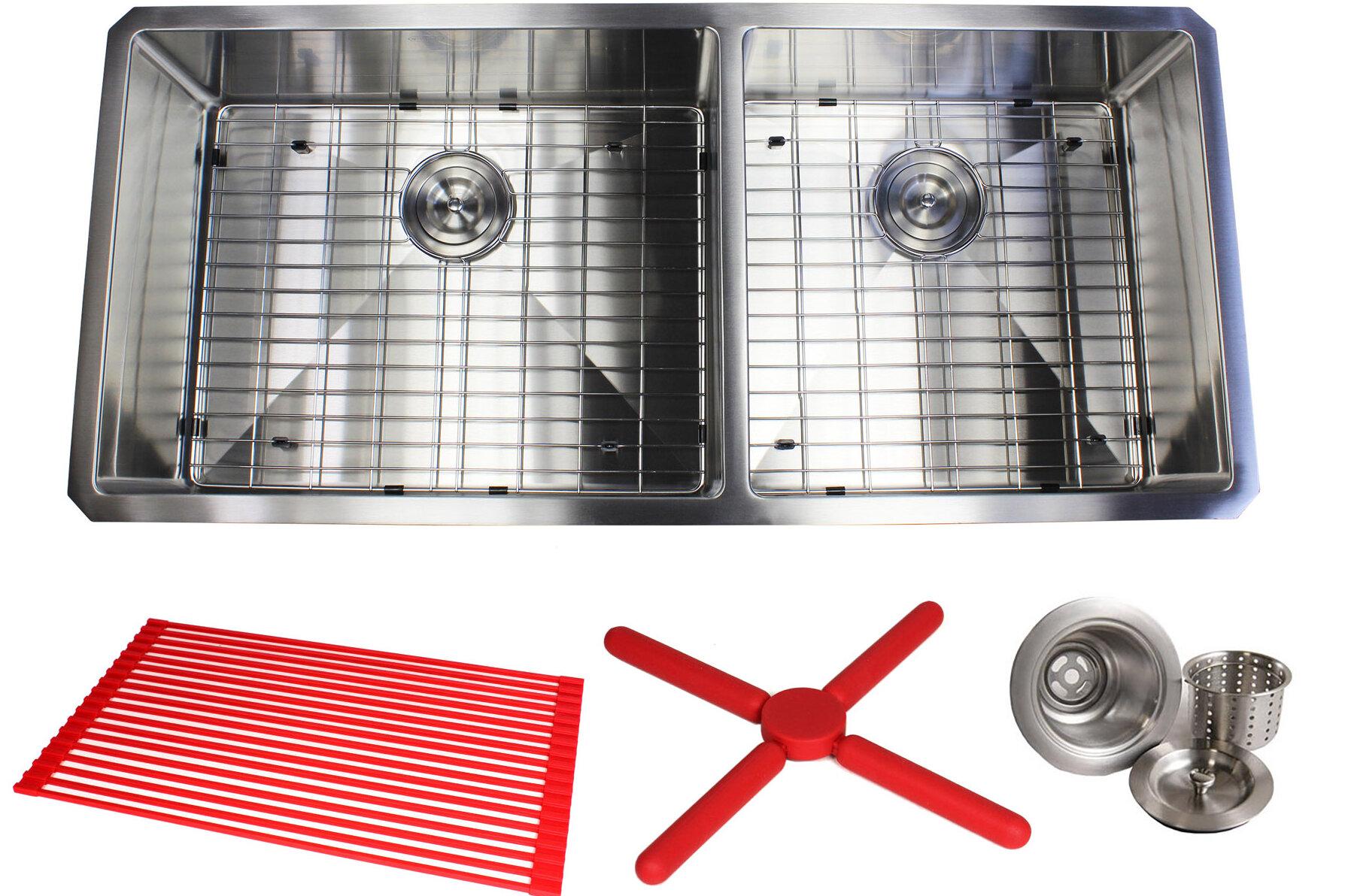 Ariel Premium Stainless Steel 42  L x 19  W Double Basin Undermount Kitchen Sink with Sink Grid and Drain Assembly | AllModern  sc 1 st  AllModern & Ariel Premium Stainless Steel 42