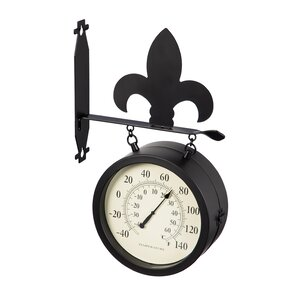 patrica 2sided outdoor wall clock and thermometer with fleur de lis
