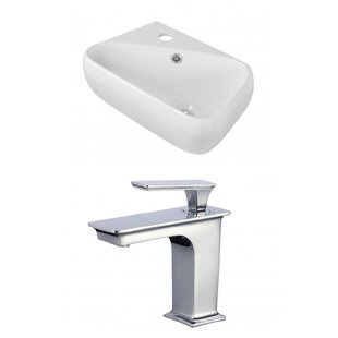 Price comparison Ceramic 18 Wall Mount Bathroom Sink with Faucet and Overflow ByAmerican Imaginations