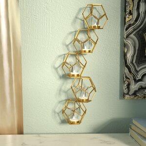 Contemporary Sparkling Gold Metal Votive