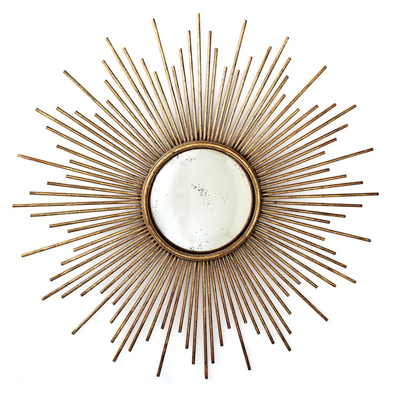 Sunburst Antiqued Gold Metal Wall Mirror #sunburstmirror