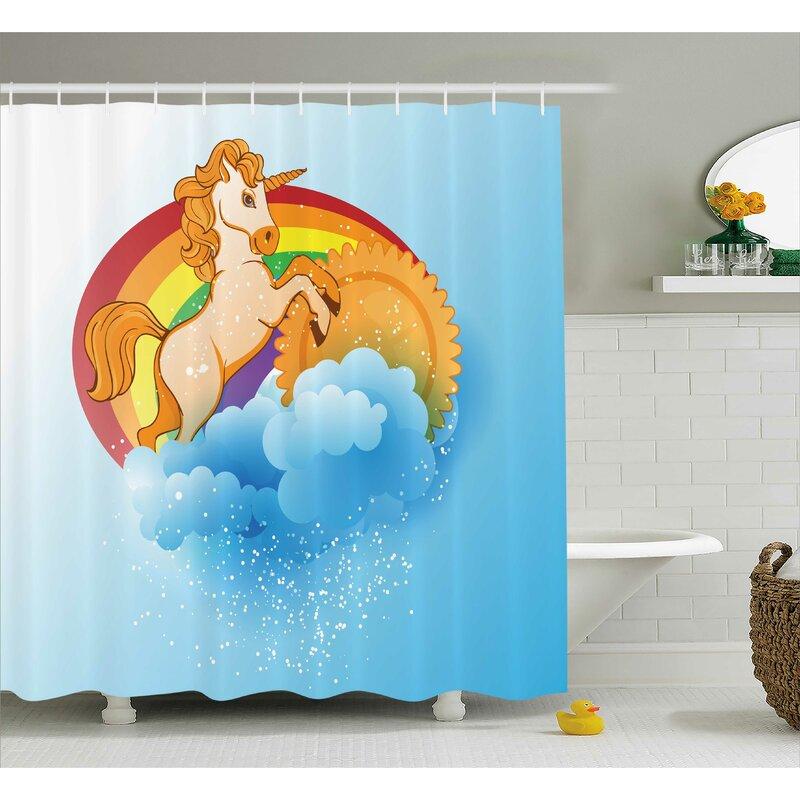 Zoomie Kids Sheldon Cartoon Rainbow Shower Curtain