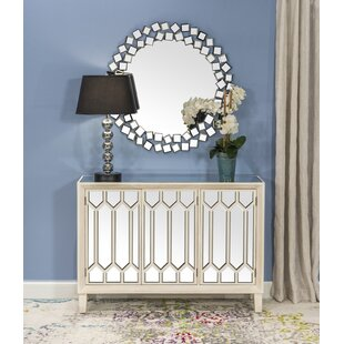Raheem Wooden Mirror 3 Door Accent Cabinet by House of Hampton