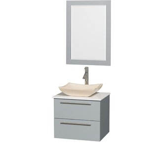 Best Reviews Amare 24 Single Dove Gray Bathroom Vanity Set with Mirror ByWyndham Collection