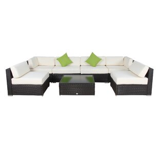 7 Piece Rattan Sectional Set With Cushions. By Auro Furniture