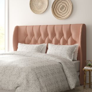 Dollison Tufted Linen Upholstered Wingback Headboard