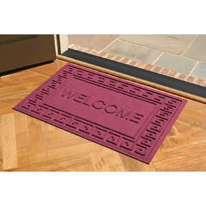 Aqua Shield Greek Key Welcome Doormat