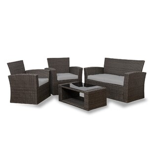 Alfonso 4 Piece Rattan Conversation Sofa Set with Cushions