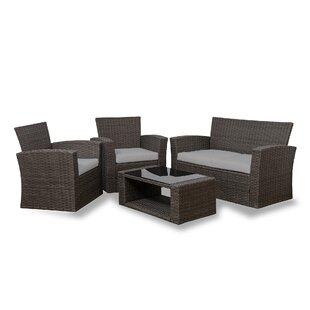Alfonso 4 Piece Rattan Conversation Sofa Set with Cushions