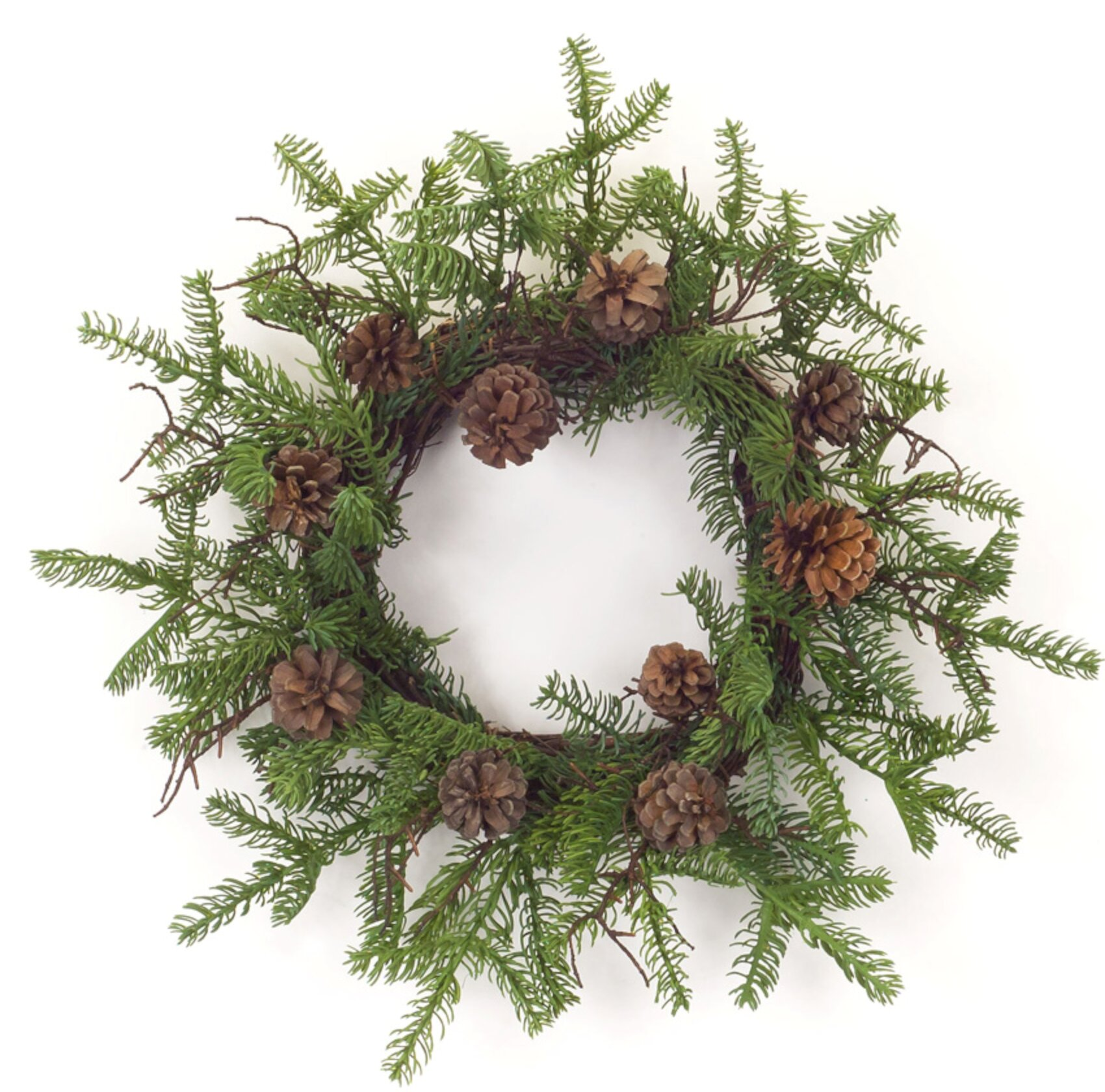 The Holiday Aisle Pine Twig Cone Wreath Set Of 2 15 D Plastic Wayfair