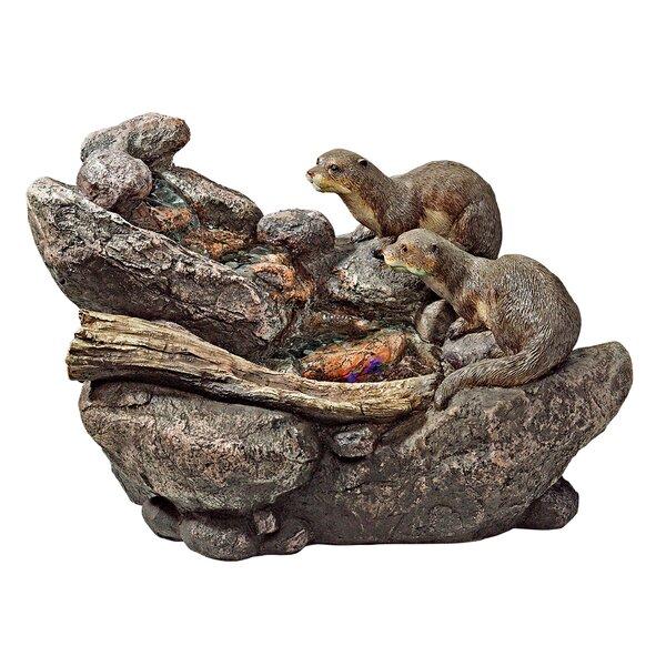 Ebros Pacific Ocean Sea Otters Statue 9 Tall Faux Wood Resin Marine Weasel Sea Otters Family Scene Figurine