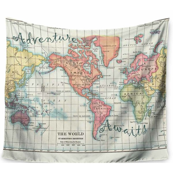 East urban home catherine holcombe adventure awaits world map east urban home catherine holcombe adventure awaits world map tapestry and wall hanging wayfair gumiabroncs Images
